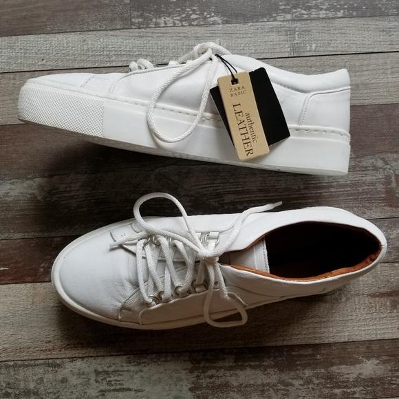 White Soft Leather Platform Tennis